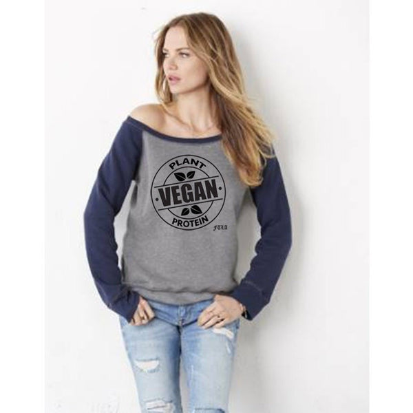FTLA Apparel FTLA Apparel Off the Shoulder Tri-blend Eco Fleece Sweatshirt – Vegan Plant Protein-Off The Shoulder Sweatshirt-FTLA Apparel-S-Grey w/ Navy Sleeves-For The Love of Animals Apparel