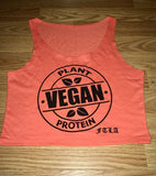 FTLA Apparel ~ For The Love of Animals Apparel:  Crop Top - FTLA Apparel Orange Cotton Crop Top - VEGAN PLANT PROTEIN