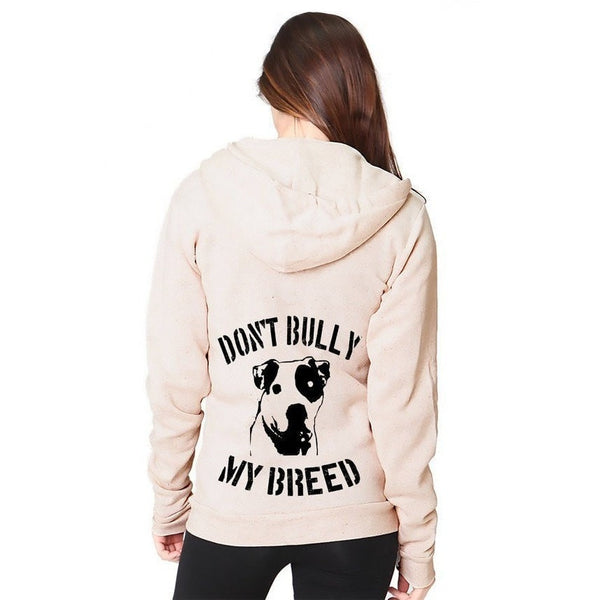 FTLA Apparel FTLA Apparel Unisex Eco-Fleece Hooded Full-Zip Sweatshirt - DON'T BULLY MY BREED-Unisex Sweatshirts-Royal Apparel-XS-OATMEAL-For The Love of Animals Apparel