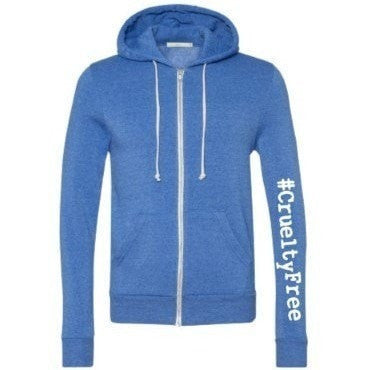 FTLA Apparel ~ For The Love of Animals Apparel:  Unisex Sweatshirts - FTLA Apparel Unisex Eco True Pacific Blue Eco Fleece Zip up Hooded Sweatshirt - #CrueltyFree