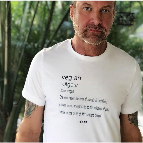"FTLA Apparel ~ For The Love of Animals Apparel:  Unisex T-Shirt - FTLA Apparel Unisex Jersey Short Sleeve Tee - ""Vegan By Definition"""