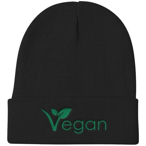 FTLA Apparel ~ For The Love of Animals Apparel:  Beanies - FTLA Apparel - Vegan Leaf Embroidered Knit Beanie