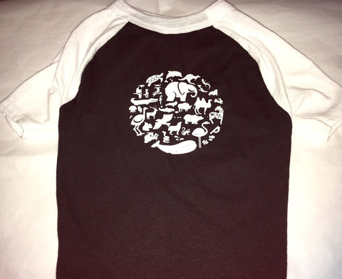 FTLA Apparel Fur Baby 3/4 Sleeve Baseball Raglan Tee - Co-Exist-Doggy Clothes-FTLA Apparel-XS-Black With White Sleeves-For The Love of Animals Apparel