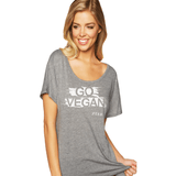 FTLA Apparel ~ For The Love of Animals Apparel:  Scoop Neck Tee - GO VEGAN Lightweight Dolman Sleeve Tee in Heather Grey - XS-2XL