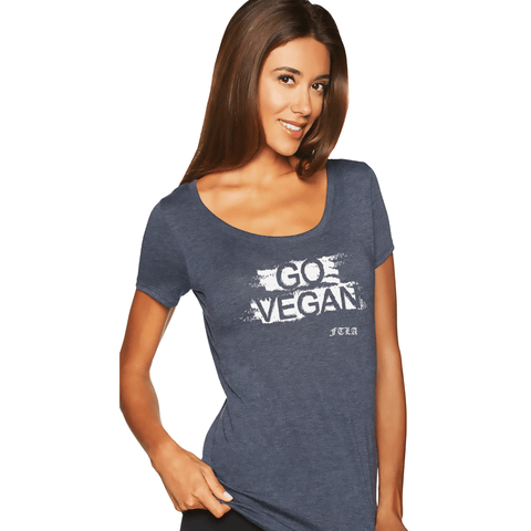 FTLA Apparel ~ For The Love of Animals Apparel:  Scoop Neck Tee - GO VEGAN Lightweight Dolman Sleeve Tee in Vintage Navy - XS-2XL