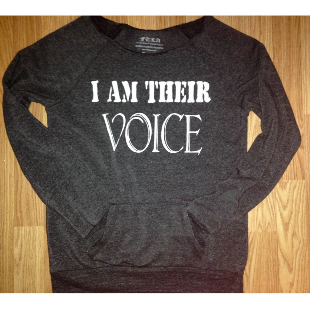 FTLA Apparel - I AM THEIR VOICE Off the Shoulder Eco Fleece Sweatshirt by FTLA Apparel-Off The Shoulder Sweatshirt-For The Love of Animals Apparel