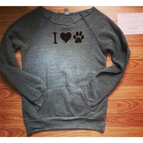 FTLA Apparel ~ For The Love of Animals Apparel:  Off The Shoulder Sweatshirt - I Heart Paw Off the Shoulder Eco Fleece Sweatshirt