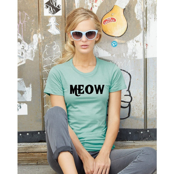 FTLA Apparel Ladies' Cotton Short Sleeve Tee - MEOW-T-Shirt-FTLA Apparel-S-Jade-For The Love of Animals Apparel