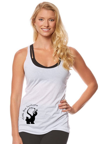 FTLA Apparel ~ For The Love of Animals Apparel:  Tank Top - Little Bear Sanctuary - White Tri-blend Racerback Tank Top - Logo on Lower Front XS-2XL
