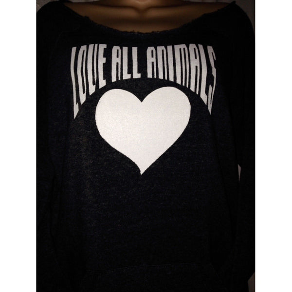 FTLA Apparel ~ For The Love of Animals Apparel:  Eco Fleece Off The Shoulder Sweatshirt - LOVE ALL ANIMALS Off the Shoulder Eco Fleece Sweatshirt  Eco Black  Love All Animals