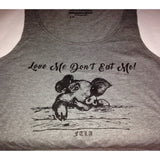 FTLA Apparel Love Me Don't Eat Me! Grey Cotton Crop Top-Crop Top-FTLA Apparel-XS/SM-For The Love of Animals Apparel
