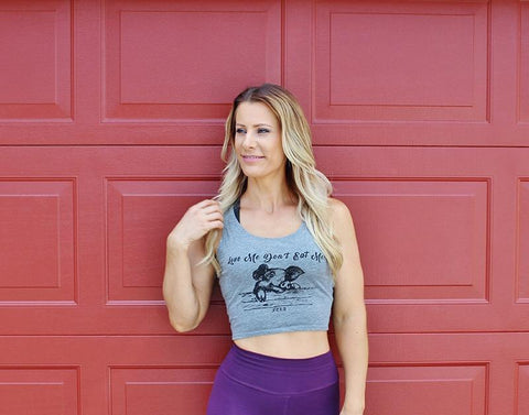 FTLA Apparel ~ For The Love of Animals Apparel:  Crop Top - Love Me Don't Eat Me! Grey Cotton Crop Top