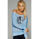FTLA Apparel ~ For The Love of Animals Apparel:  Off The Shoulder Pullover - Make Compassion The Fashion!  Flowy Long Sleeve Off Shoulder Pullover in Marble Blue
