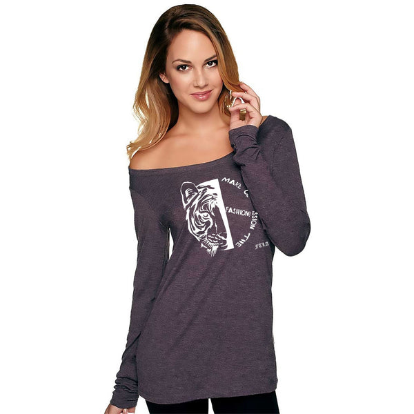 FTLA Apparel ~ For The Love of Animals Apparel:  Off The Shoulder Pullover - Make Compassion The Fashion! Off The Shoulder Vintage Purple Triblend Scoop Neck Pullover