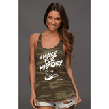 FTLA Apparel ~ For The Love of Animals Apparel:  Tank Top - #MakeFurHistory FTLA Apparel Eco Jersey Camo Racerback Tank Top