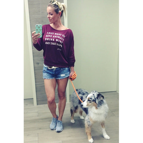 FTLA Apparel ~ For The Love of Animals Apparel:  Off The Shoulder Pullover - Maroon Off The Shoulder Pullover - I Just Want To Save Animals Drink...