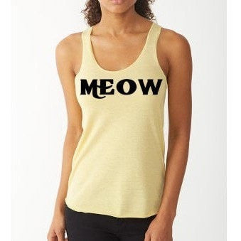 FTLA Apparel - Meow Eco Jersey Racerback Tank / Meow / Cat Lovers-Tank Top-For The Love of Animals Apparel