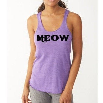 FTLA Apparel Meow Eco Jersey Racerback Tank / Meow / Cat Lovers-Tank Top-FTLA Apparel-S-Eco-Grey-For The Love of Animals Apparel