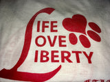 FTLA Apparel ~ For The Love of Animals Apparel:  Off The Shoulder Pullover - MISPRINT READY TO SHIP SIZE MD Beagle Freedom Project  Eco Jersey Stars Off The Shoulder Pullover Life Love Liberty