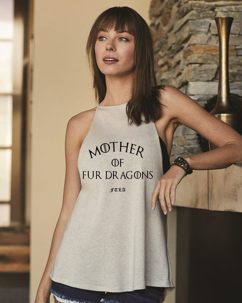 FTLA Apparel ~ For The Love of Animals Apparel:  High Neck Spaghetti Tank - MOTHER OF FUR DRAGONS by FTLA Apparel - Silver High Neck Flowy Vintage Jersey Tank Top