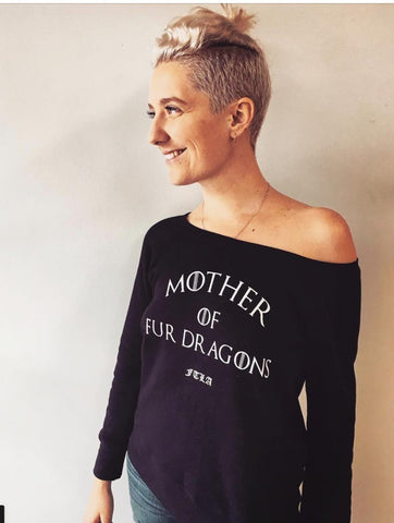 FTLA Apparel ~ For The Love of Animals Apparel:  Off The Shoulder Sweatshirt - Mother of Fur Dragons™️ True Black Tri-blend Fleece Off the Shoulder Sweatshirt