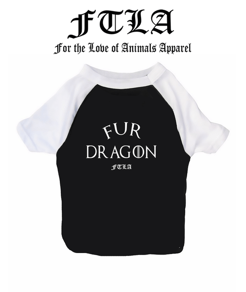 FTLA Apparel ~ For The Love of Animals Apparel:  Doggy Clothes - New Cotton 3/4 Sleeve Dog Raglan Tee - Fur Dragon by FTLA Apparel
