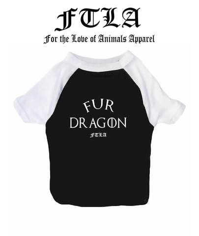 FTLA Apparel New Cotton 3/4 Sleeve Dog Raglan Tee - Fur Dragon by FTLA Apparel-Doggy Clothes-FTLA Apparel-XS-For The Love of Animals Apparel