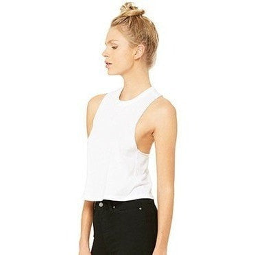 FTLA Apparel - New FTLA Apparel Racerback Cropped Tank Top - White - Crop Top