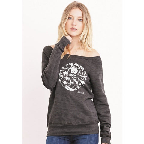 FTLA Apparel ~ For The Love of Animals Apparel:  Off The Shoulder Sweatshirt - Off the Shoulder Dark Grey Marble Triblend Fleece Sweatshirt - Co-Exist | End Captivity