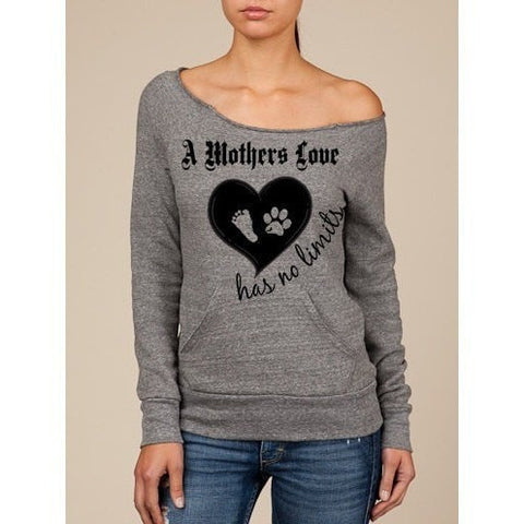 FTLA Apparel Off the Shoulder Eco Fleece Sweatshirt – A Mothers Love has No Limits-Eco Fleece Off The Shoulder Sweatshirt-FTLA Apparel-S-Eco Grey-For The Love of Animals Apparel