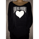 FTLA Apparel Off the Shoulder Eco Fleece Sweatshirt – LOVE ALL ANIMALS-Off The Shoulder Sweatshirt-FTLA Apparel-Small-Eco Navy-For The Love of Animals Apparel