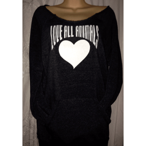 FTLA Apparel Off the Shoulder Eco Fleece Sweatshirt – LOVE ALL ANIMALS-Off The Shoulder Sweatshirt-FTLA Apparel-Small-Eco Black-For The Love of Animals Apparel