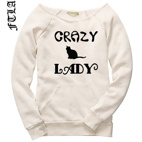 FTLA Apparel Off the Shoulder Eco Wheat Eco Fleece Sweatshirt - Crazy Cat Lady-Off The Shoulder Sweatshirt-FTLA Apparel-S-For The Love of Animals Apparel