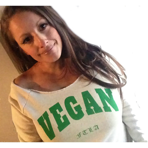 FTLA Apparel ~ For The Love of Animals Apparel:  Off The Shoulder Sweatshirt - Off the Shoulder Eco Wheat Eco Fleece Sweatshirt - VEGAN For The Love of Animals | FTLA