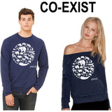 FTLA Apparel ~ For The Love of Animals Apparel:  Off The Shoulder Sweatshirt - Off the Shoulder Navy Triblend Fleece Sweatshirt - Co-Exist | End Captivity