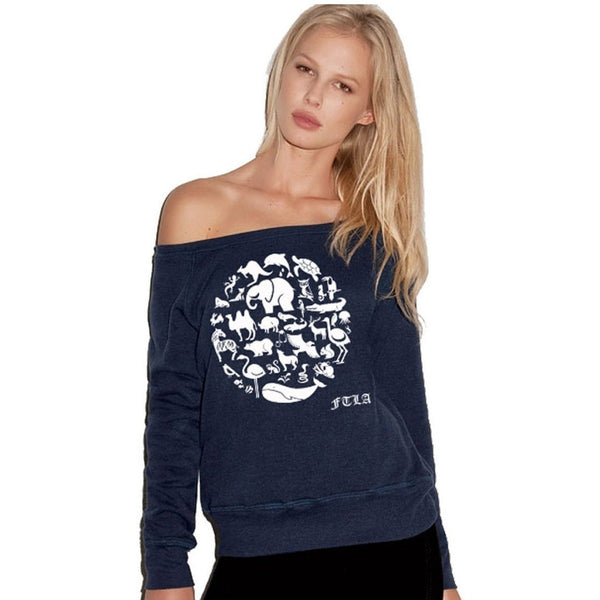 FTLA Apparel Off the Shoulder Navy Triblend Fleece Sweatshirt - Co-Exist | End Captivity-Off The Shoulder Sweatshirt-FTLA Apparel-S-For The Love of Animals Apparel