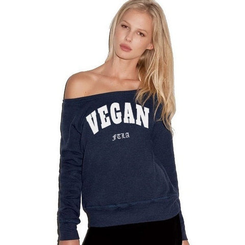 FTLA Apparel ~ For The Love of Animals Apparel:  Off The Shoulder Sweatshirt - Off the Shoulder Navy Triblend Fleece Sweatshirt - VEGAN For The Love of Animals
