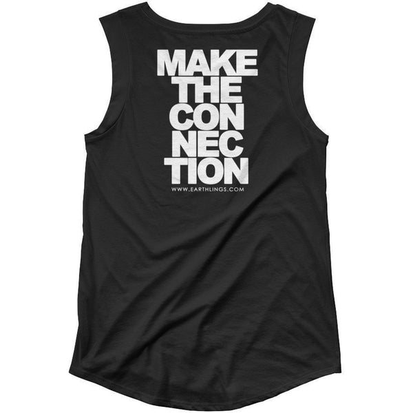 FTLA Apparel - OFFICIAL EARTHLINGS Black Cap Sleeve Tank Top - Make The Connection-Tank Top-For The Love of Animals Apparel