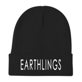 FTLA Apparel ~ For The Love of Animals Apparel:  Beanies - Official EARTHLINGS Embroidered Beanie Cap - Black