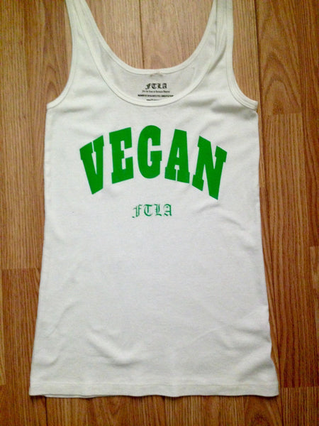 FTLA Apparel ~ For The Love of Animals Apparel:  Tank Top - READY TO SHIP SALE SIZE LARGE WHITE  Women's 1x1 Baby Rib Tank Top - VEGAN FTLA