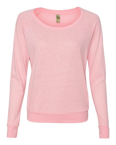 FTLA Apparel ~ For The Love of Animals Apparel:  Off The Shoulder Pullover - READY TO SHIP SALE SIZE SM Eco-Jersey Off The Shoulder Eco Pink Ribbon Slouchy Pullover - BLANK