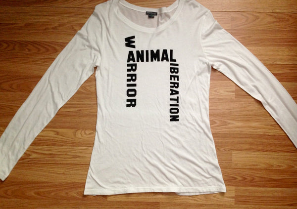 FTLA Apparel READY TO SHIP SALE SIZE XL WHITE eco-HYBRID™ Micro Jersey Long Sleeve Tee - ANIMAL LIBERATION WARRIOR-Long Sleeve-FTLA Apparel-For The Love of Animals Apparel