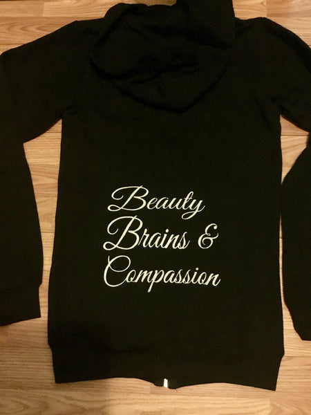 FTLA Apparel ~ For The Love of Animals Apparel:  Unisex Sweatshirts - READY TO SHIP SALE SIZE XS Unisex Eco-Fleece Hooded Full-Zip Sweatshirt - Beauty Brains & Compassion
