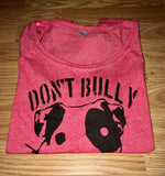 FTLA Apparel ~ For The Love of Animals Apparel:  Wide Neck Pullover - READY TO SHIP SIZE LG Eco Mock Engine Red Wide Neck Mock Twist Pullover - Don't Bully My Breed