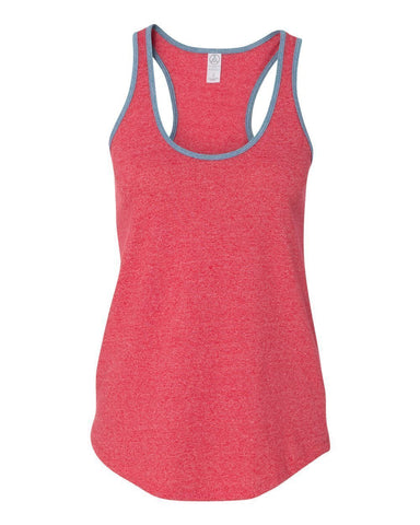 FTLA Apparel READY TO SHIP SIZE SMALL Eco Mock Engine Red RINGER RACER BACK TANK TOP - BLANK-Tank Top-FTLA Apparel-For The Love of Animals Apparel