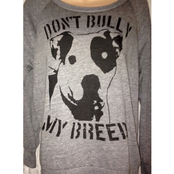 FTLA Apparel READY TO SHIP SIZE XL Eco Grey Off The Shoulder Eco-Jersey Slouchy Pullover - Don't Bully My Breed-Off The Shoulder Pullover-FTLA Apparel-For The Love of Animals Apparel