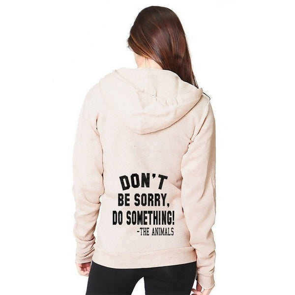 FTLA Apparel RPET Unisex Eco Fleece Full-Zip Hoodie Eco Oatmeal – Don't Be Sorry, Do Something - The Animals! | XS-2XL-Unisex Sweatshirts-FTLA Apparel-XS-For The Love of Animals Apparel
