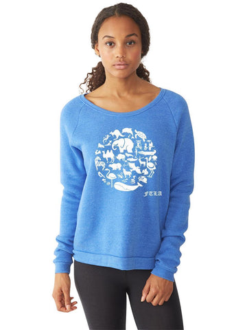 FTLA Apparel ~ For The Love of Animals Apparel:  Eco Fleece Sweatshirt - SALE READY TO SHIP - SIZE MEDIUM Pacific Blue Eco-Fleece Dash Pullover Sweatshirt – CO-EXIST