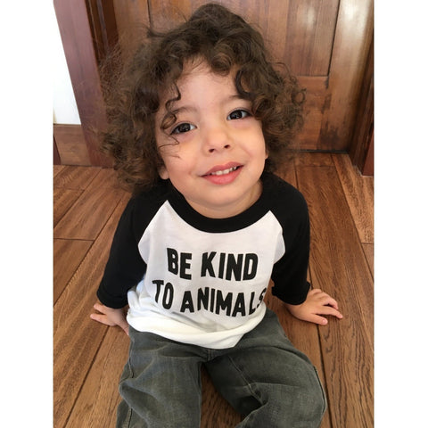FTLA Apparel Toddlers/Kids Unisex Poly-Cotton 3/4 Sleeve Raglan Shirt - Be Kind To Animals-Toddler Baseball Tee-FTLA Apparel-2-Tri-White/ Black-For The Love of Animals Apparel
