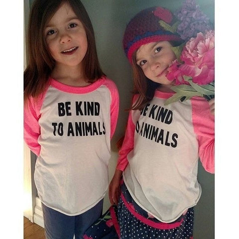FTLA Apparel - Toddlers/Kids Unisex Poly-Cotton 3/4 Sleeve Raglan Shirt - Be Kind To Animals - Toddler Baseball Tee